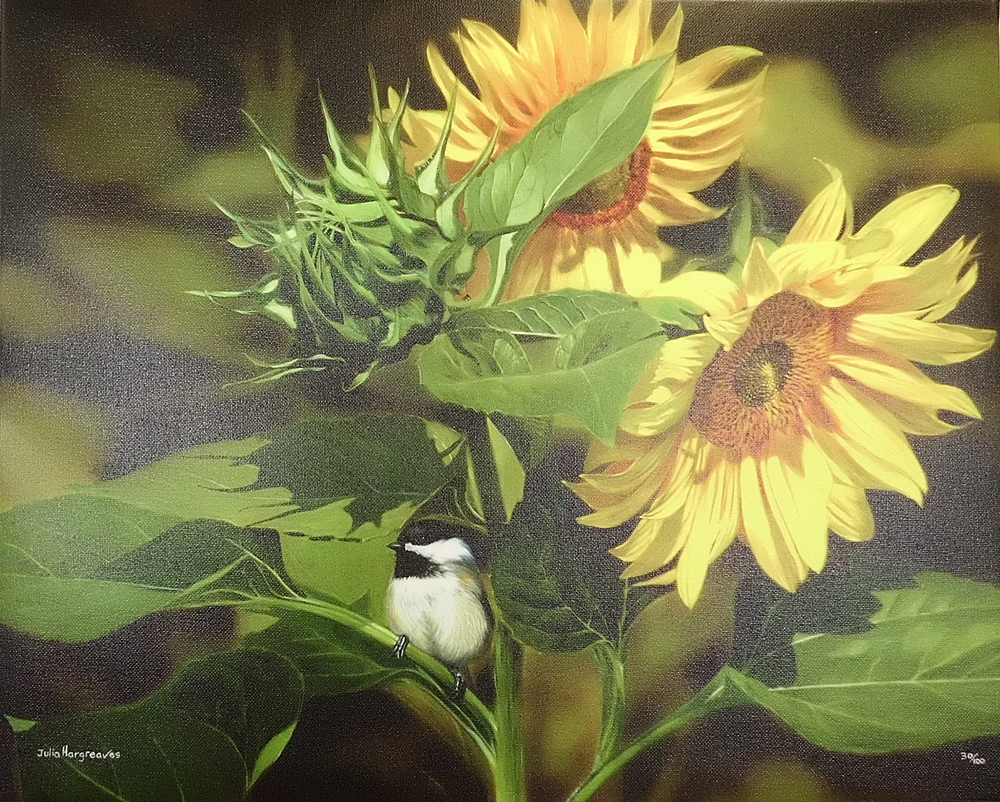'Sunflowers & Chickadee'
