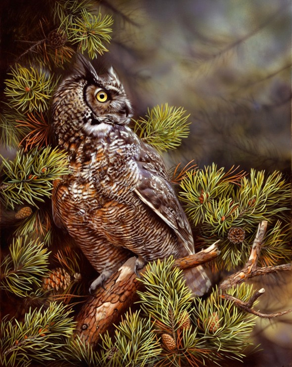 'Twilight Great Horned Owl'